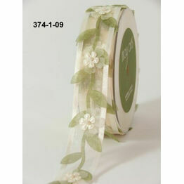 Ribbon Sheer Ivory Floral Vine with Peals 25mm