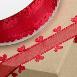 Ribbon Organza Heart Edge 25mm Red