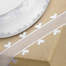 Ribbon Organza Heart Edge 25mm White