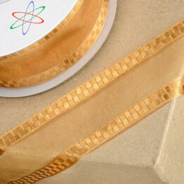 Club Green Ribbon Organza Sq Edge 38mm Gold CGC438