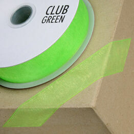 Club Green Ribbon Organza Woven Edge 38mm Apple CGCW38