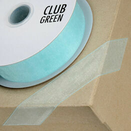Club Green Ribbon Organza Woven Edge 38mm Aqua CGCW38