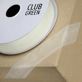 Club Green Ribbon Organza Woven Edge 38mm Ivory CGCW38