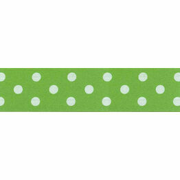 Ribbon Polka Dot Green 25mm