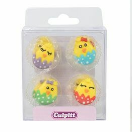 Easter Cute Baby Chick Sugar Pipings - Pack of 12