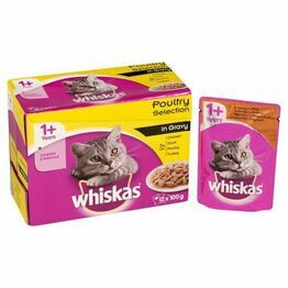 Whiskas 1+ Cat Pouch Poultry Selection in Gravy (12Pk)