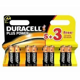 Duracell Plus AA Cell Batteries-Multi-pack of 5+3
