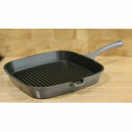 Simply Home Cast Iron Grill Pan 23.5cm Light Grey