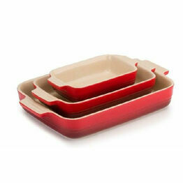 Le Creuset Set of 3 Classic Stoneware Rectangular Dishes Cerise