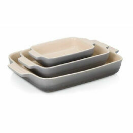 Le Creuset Set of 3 Classic Stoneware Rectangular Dishes Flint