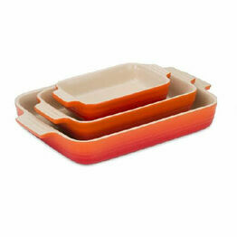Le Creuset Set of 3 Classic Stoneware Rectangular Dishes Volcanic