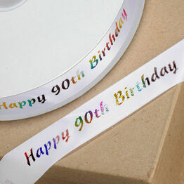 Ribbon Happy Birthday 90th 20mm