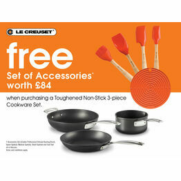Le Creuset Toughened Non Stick 3 piece Cookware Set with free silicone tool set ( while stocks last)