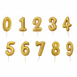Numeral Moulded Pick Party Candles Gold