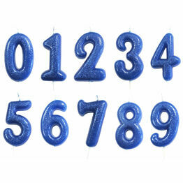 Numeral Moulded Pick Party Candles Blue