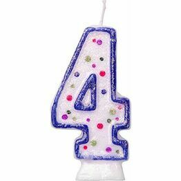 Blue Birthday Cake Candle - Number 4