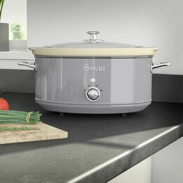 Swan Slow Cooker Retro Grey 6.5Ltr SF17031GRN