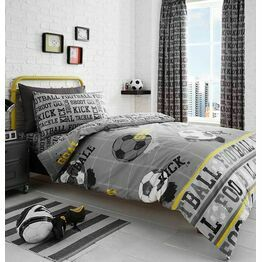 Bedlam Duvet Cover Set Football Grey Single Bed
