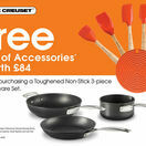 Le Creuset Toughened Non Stick 3 piece Cookware Set with free silicone tool set ( while stocks last) additional 1