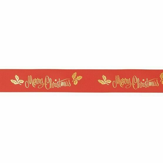 Merry Christmas Ribbon Red/Gold Coloured- 24mm