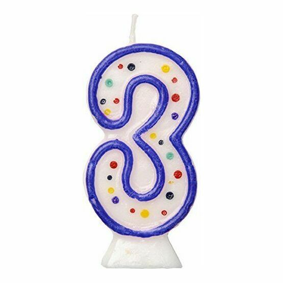 Blue Birthday Cake Candle - Number 3
