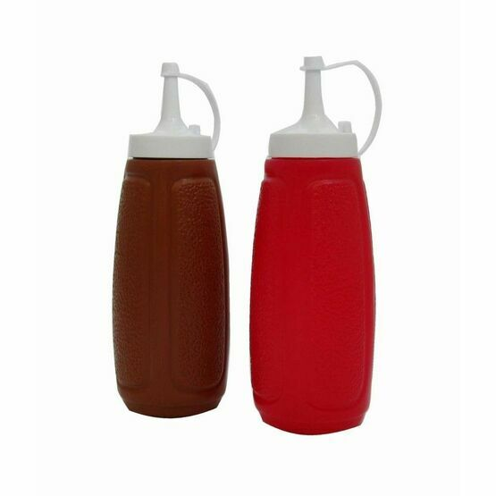 Brown and Red Sauce Bottles